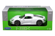 Porsche 918 Spyder White 1/18 Scale Diecast Car Model By Welly 18051