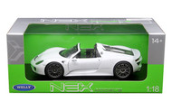 Porsche 918 Spyder No Top White 1/18 Scale Diecast Car Model By Welly 18051