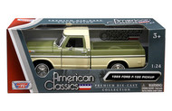 1969 Ford F-100 Pickup Truck Green Two Tone 1/24 Scale By Motor Max Diecast Model 79315