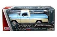 1969 Ford F-100 Pickup Blue Two Tone 1/24 Scale By Motor Max Diecast Model 79315