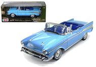 1957 Chevy Bel Air Convertible Blue 1/18 Scale Diecast Car Model By Motor Max 73175
