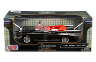 Copy of 1957 Chevy Bel Air Convertible Black 1/18 Scale Diecast Car Model By Motor Max 73175
