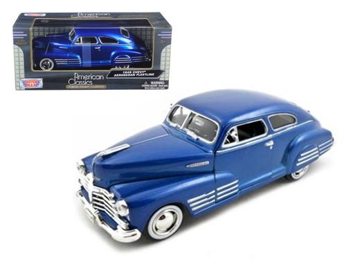 1948 Chevrolet Aerosedan Fleetline Metallic Blue 1/24 Scale Diecast Car Model By Motor Max 73266