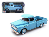 1958 Chevy Apache Fleetside Pick Up Truck Blue 1/24 Scale Diecast Model By Motor Max 79311