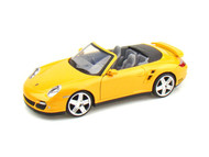 Porsche 911 Turbo Cabriolet Yellow 1/24 Scale Diecast Car Model By Motor Max 73348