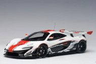 McLaren P1 GTR Gloss White Red Stripes 1/18 Scale Diecast Car Model By AUTOart 81541