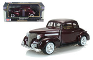 1939 Chevrolet Coupe Burgundy 1/24 Scale Diecast Car Model By Motor Max 73247