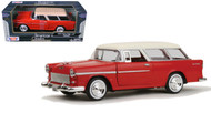 1955 Chevrolet Chevy Bel Air Nomad Red 1/24 Scale Diecast Car Model By Motor Max 73248