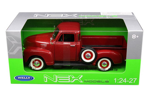 1953 Chevrolet 3100 Pickup Truck Red 1/24 Scale Diecast Car Model By Welly 22087