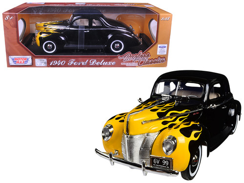 1940 Ford Deluxe Black With Flames 1/18 Scale Diecast Car By Motor Max 73108