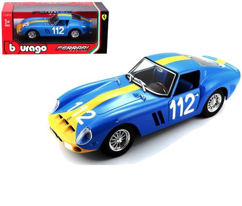 Ferrari 250 GTO Blue #112 1/24 Scale Diecast Car Model By Bburago 26305