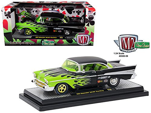 1957 Chevrolet Bel Air Black With Flames 1/24 Scale By M2 Machines 40300-59B