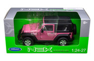 2007 Jeep Wrangler Pink Black Top 1/24-27 Scale Diecast Car Model By Welly 22489