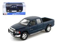 2002 Dodge Ram Quad Cab 4 Door Blue 1/27 Scale Diecast Car Model By Maisto 31963