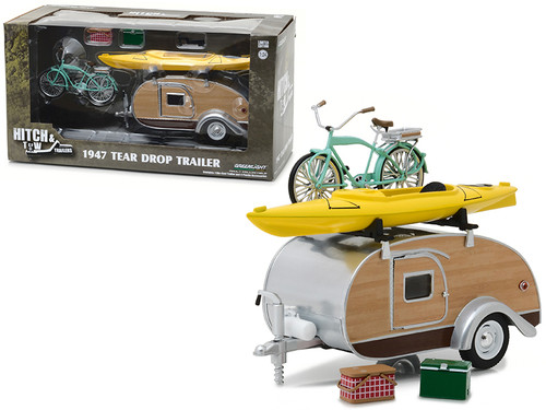 1947 Ken Skill Tear Drop Trailer With Accessories 1/24 Scale Diecast Model By Greenlight 18430