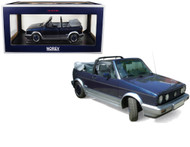 1992 Volkswagen Golf Cabriolet Bel Air Blue Metallic 1/18 Scale Diecast Car Model By Norev 188404