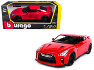 2017 Nissan GT-R R35 Red 1/24 Scale Diecast Car Model By BBurago 21082