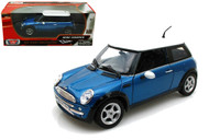 Mini Cooper Blue 1/18 Scale Diecast Car Model By Motor Max 73114