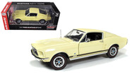 1967 Ford Mustang 2+2 GT Aspen Gold 1250 50th 1/18 Scale Diecast Car Model By Auto World AMM1038