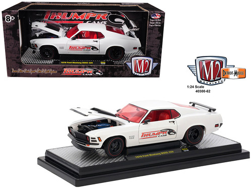 1970 Ford Mustang BOSS 429 Thumpr Cams Semi Gloss White 1/24 Scale By M2 Machines 40300-62A