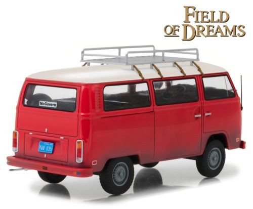 1973 Volkswagen Bus Type 2 T2B Red Field of Dreams 1/24 Scale Diecast Model By Greenlight 84034