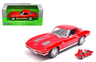 1963 Chevrolet Corvette Red 1/24-27 Scale Diecast Car Model By Welly 24073