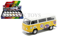 """1972 Volkswagen T2 Bus Display Box Of 12 5"""" Long Diecast Model By Welly 42347"""