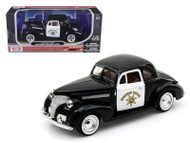 1939 Chevy Coupe California Highway Patrol Police 1/24 Scale Diecast Car Model By Motor Max 76453