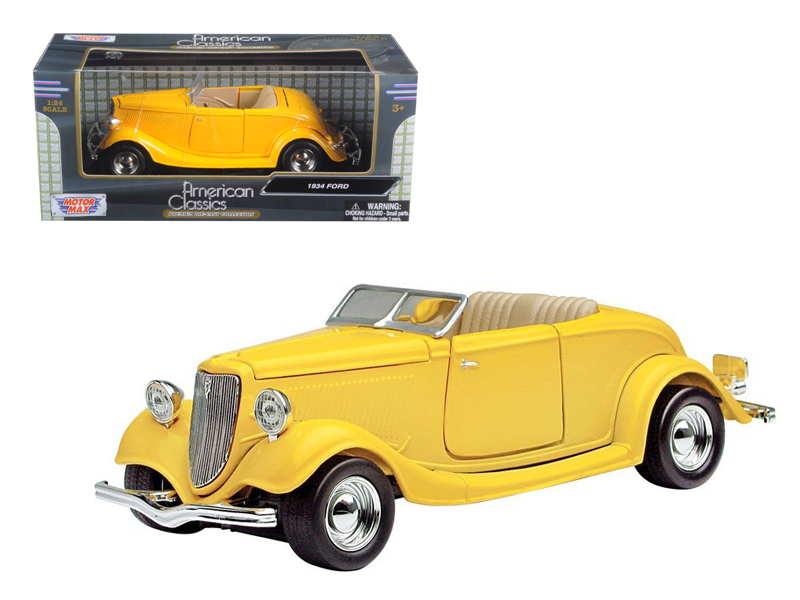 1934 Ford Coupe Convertible Yellow 1 24 Scale Diecast Car