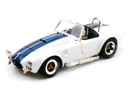 Shelby Collectibles 1/18 Scale Shelby Cobra 427 S/C White With Blue Stripes Diecast Car Model SC 115