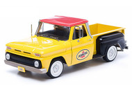Greenlight 1/18 Scale 1965 Chevy C-10 Stepside Pick Up Truck Pennzoil Yellow Diecast Model 12873
