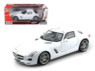 Mercedes Benz SLS AMG Gullwing White 1/18 Scale Diecast Car Model By Motor Max 79162