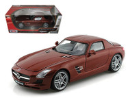 Mercedes Benz SLS AMG Gullwing Chocolate 1/18 Scale Diecast Car Model By Motor Max 79162