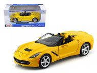 2014 Chevy Corvette C7 Stingray Convertible Yellow 1/24 Scale Diecast Car Model By Maisto 31501