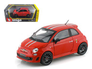 Fiat Abarth 695 Tributo Ferrari Red 1/24 Scale Diecast Car Model By Bburago 21070
