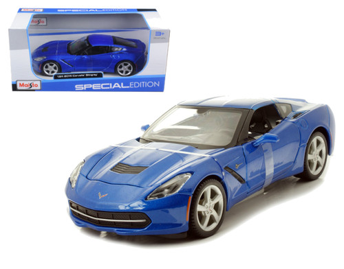 2014 C7 Chevrolet Corvette Stingray Blue 1/24 Scale Diecast Car Model By Maisto 31505