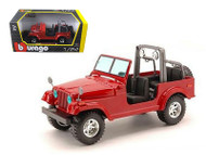 2003 Jeep CJ-7 Wrangler Red 1/24 Scale Diecast Car Model By Bburago 22033