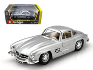 1954 Mercedes Benz 300SL Silver 1/24 Scale Diecast Car Model By Bburago 22023