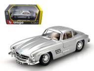 1954 Mercedes Benz 300SL Silver 1/24 Scale Diecast Car Model By Bburago 22023