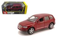 Volkswagen Touareg SUV Burgundy 1/24 Scale Diecast Car Model By Bburago 22015