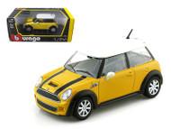 Mini Cooper S Yellow 1/24 Scale Diecast Car Model By Bburago 22124