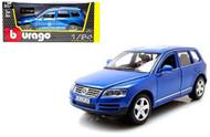 Volkswagen Touareg SUV Blue 1/24 Scale Diecast Car Model By Bburago 22015