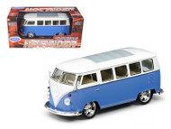 1962 VW Volkswagen Micro Bus Hot Rider Blue 1/25 Scale Diecast Model By Welly 22095