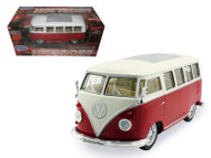 1962 Volkswagen Micro Bus Hot Rider Red 1/25 Scale Diecast Model By Welly 22095