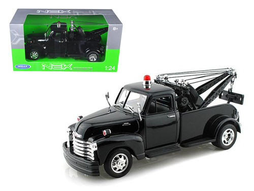 1953 Chevy 3100 Tow Truck Wrecker Plain Black 1/24 Scale Diecast Model By Welly 22086