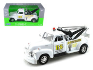1953 Chevy 3100 Tow Truck Wrecker Road Service White 1/24 Scale Diecast Model By Welly 22086