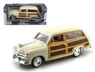 1949 Ford Woody Wagon Beige Cream 1/24 Scale Diecast Car Model By Motor Max 73260