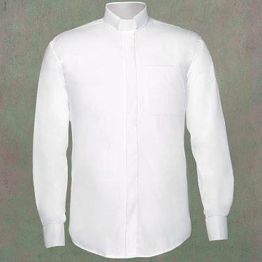 Men 39 S Long Sleeve Clergy Shirt With Tab Collar In White