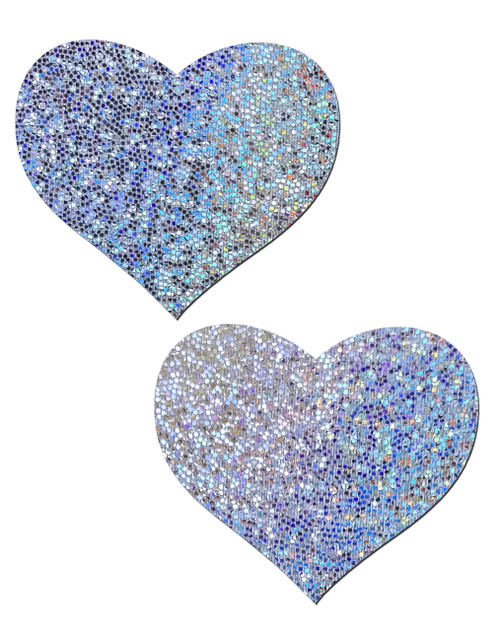 Sweety: Silver Glitter Heart Nipple Pasties by Pastease® o/s