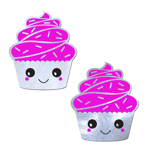 Hot Pink Frosting on Shimmery White Happy Kawaii Gluten-Free Cupcake Nipple Pasties by Pastease® o/s